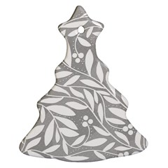 Gray And White Floral Pattern Christmas Tree Ornament (2 Sides)