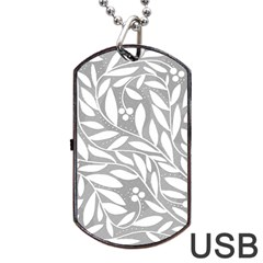 Gray and white floral pattern Dog Tag USB Flash (Two Sides)