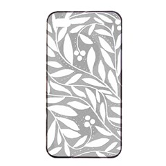 Gray and white floral pattern Apple iPhone 4/4s Seamless Case (Black)
