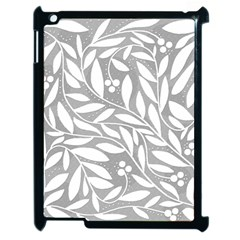Gray and white floral pattern Apple iPad 2 Case (Black)
