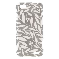 Gray and white floral pattern HTC One V Hardshell Case
