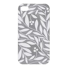 Gray and white floral pattern Apple iPhone 4/4S Premium Hardshell Case