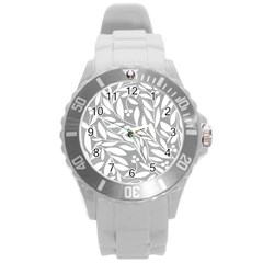 Gray and white floral pattern Round Plastic Sport Watch (L)