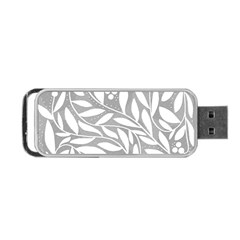 Gray and white floral pattern Portable USB Flash (One Side)