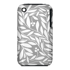Gray and white floral pattern Apple iPhone 3G/3GS Hardshell Case (PC+Silicone)
