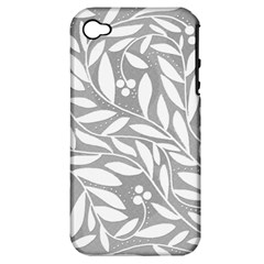 Gray and white floral pattern Apple iPhone 4/4S Hardshell Case (PC+Silicone)