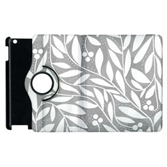 Gray and white floral pattern Apple iPad 2 Flip 360 Case