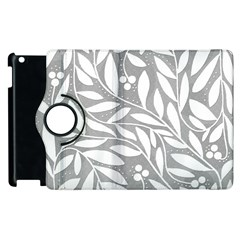 Gray and white floral pattern Apple iPad 3/4 Flip 360 Case