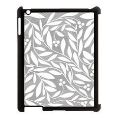 Gray and white floral pattern Apple iPad 3/4 Case (Black)