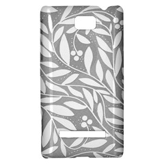 Gray and white floral pattern HTC 8S Hardshell Case