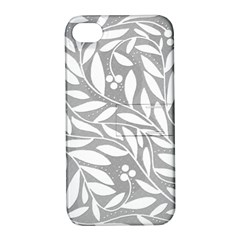 Gray and white floral pattern Apple iPhone 4/4S Hardshell Case with Stand