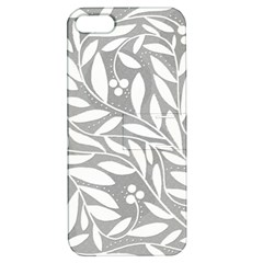 Gray and white floral pattern Apple iPhone 5 Hardshell Case with Stand
