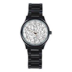 Gray and white floral pattern Stainless Steel Round Watch