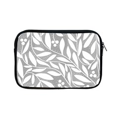 Gray and white floral pattern Apple iPad Mini Zipper Cases