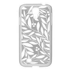 Gray and white floral pattern Samsung GALAXY S4 I9500/ I9505 Case (White)
