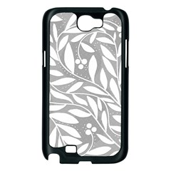 Gray and white floral pattern Samsung Galaxy Note 2 Case (Black)