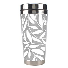 Gray and white floral pattern Stainless Steel Travel Tumblers
