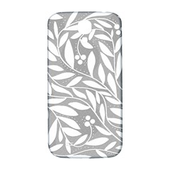 Gray and white floral pattern Samsung Galaxy S4 I9500/I9505  Hardshell Back Case