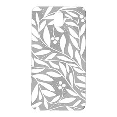Gray and white floral pattern Samsung Galaxy Note 3 N9005 Hardshell Back Case