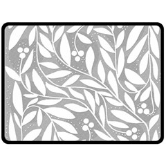 Gray and white floral pattern Double Sided Fleece Blanket (Large)