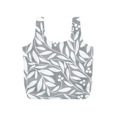 Gray and white floral pattern Full Print Recycle Bags (S)