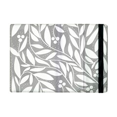 Gray and white floral pattern iPad Mini 2 Flip Cases