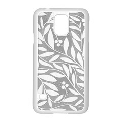 Gray and white floral pattern Samsung Galaxy S5 Case (White)