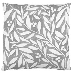 Gray and white floral pattern Large Flano Cushion Case (One Side)
