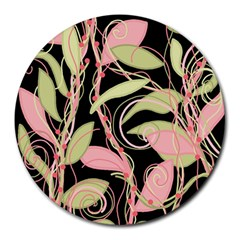 Pink and ocher ivy Round Mousepads