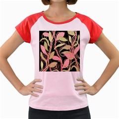 Pink and ocher ivy Women s Cap Sleeve T-Shirt