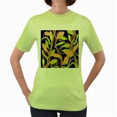 Pink and ocher ivy Women s Green T-Shirt