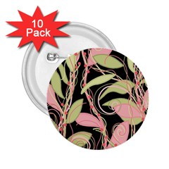 Pink and ocher ivy 2.25  Buttons (10 pack)