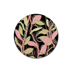 Pink and ocher ivy Rubber Coaster (Round)