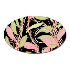 Pink and ocher ivy Oval Magnet