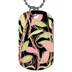 Pink and ocher ivy Dog Tag (Two Sides)