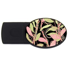 Pink and ocher ivy USB Flash Drive Oval (1 GB)