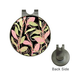 Pink and ocher ivy Hat Clips with Golf Markers
