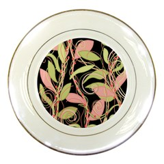 Pink and ocher ivy Porcelain Plates