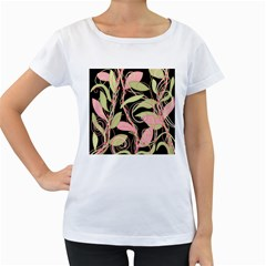 Pink and ocher ivy Women s Loose-Fit T-Shirt (White)