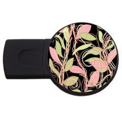 Pink and ocher ivy USB Flash Drive Round (4 GB)