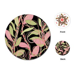 Pink and ocher ivy Playing Cards (Round)