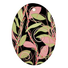 Pink and ocher ivy Oval Ornament (Two Sides)