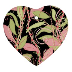 Pink and ocher ivy Heart Ornament (2 Sides)