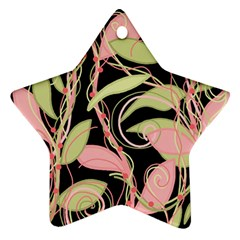 Pink and ocher ivy Star Ornament (Two Sides)