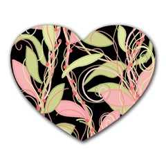 Pink and ocher ivy Heart Mousepads