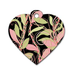 Pink and ocher ivy Dog Tag Heart (One Side)