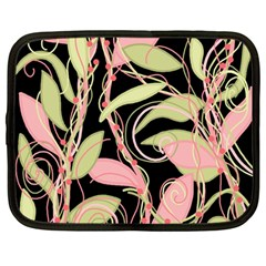 Pink and ocher ivy Netbook Case (Large)
