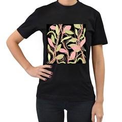 Pink and ocher ivy Women s T-Shirt (Black)