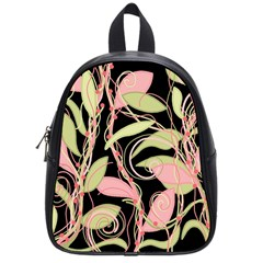 Pink and ocher ivy School Bags (Small)