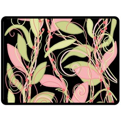 Pink and ocher ivy Fleece Blanket (Large)
